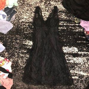 David Meister black lace ruffly dress